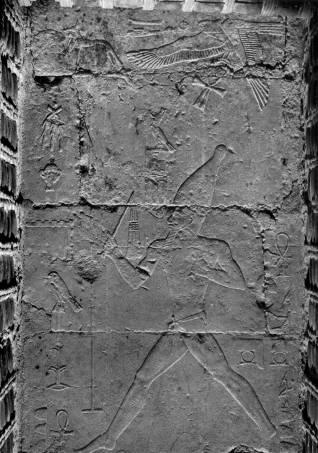 Bajorrelieve encontrado en Saqqara de Djoser realizando el ritual heb-sed