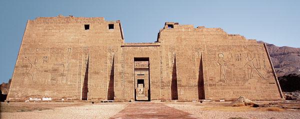 Medinet Habu pilonos, el templo clásico en el antiguo Egipto