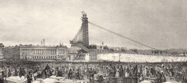 Erection de l'obélisque de Louqsor sur la place de la Concorde à Paris, F. Bohommé. Litografía [BnF/Gallica]