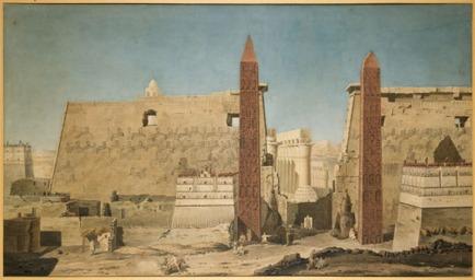 Pilono de entrada del templo de Luxor. Acuarela de François-Charles Cécile,1800. Musée du Louvre