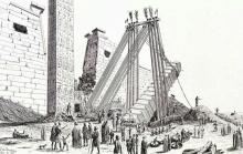 Ilustración de Leon Joannis que muestra cómo tumbaron el obelisco de Ramsés II del templo de Luxor. El traslado del obelisco de Luxor a París