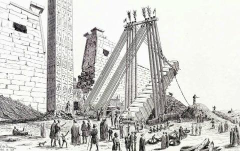 Ilustración de Leon Joannis que muestra cómo tumbaron el obelisco de Luxor