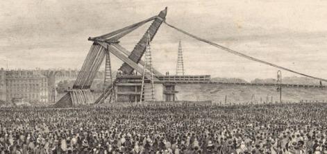 Erection de l'Obélisque du Luxor, litografía de Théodore Jung. BnF/Gallica