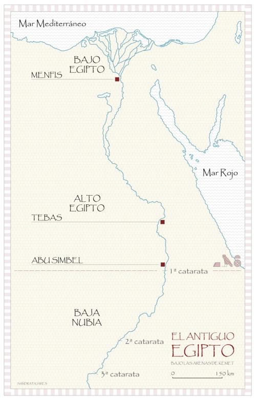 Mapa del antiguo Egipto, Templo de Ramsés II, Abu Simbel, Sandra Pajares, Bajo las arenas de Kemet
