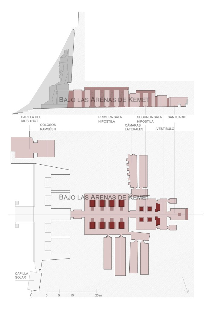 Planta y sección longitudinal del templo de Ramsés II, Abu Simbel