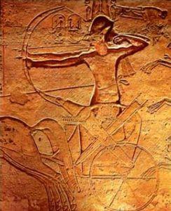 Ramsés II durante la batalla de Qadesh, Abu Simbel