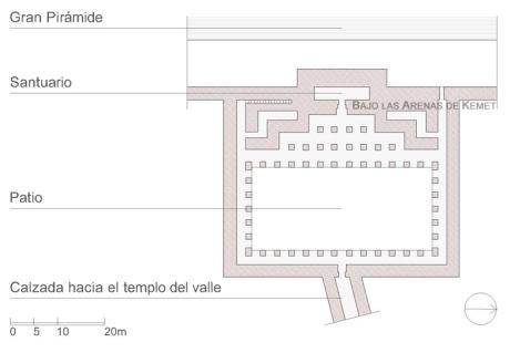 Planta del templo alto del complejo funerario de Keops, Guiza. Complejo funerario Keops, Khufu. Bajo las arenas de Kemet. Arquitectura antiguo Egipto