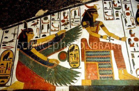 Las diosas Maat y Serket, tumba de Nefertari, qv66, Bajo las arenas de Kemet