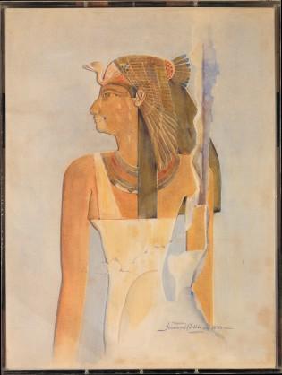 Seniseneb, abuela de Hatshepsut, acuarela de Howard Carter, Tutankhamón, Lord Carnarvon. Bajo las arenas de Kemet, antiguo Egipto, egiptología KV62