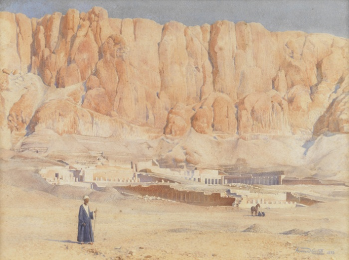 El templo de Hatshepsut, acuarela de Howard Carter, Deir el-Bahari, Djeser-Djeseru Hatshepsut, arquitectura antiguo Egipto, Sandra Pajares, Bajo las arenas de Kemet