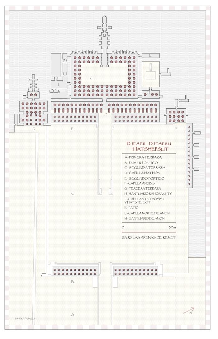 Planta del templo de Hatshepsut en Deir el-Bahari , Djeser-Djeseru, arquitectura antiguo Egipto, plano Sandra Pajares, Bajo las arenas de Kemet