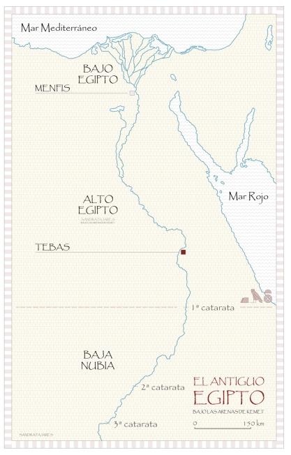Mapa de Egipto, Deir el-Bahari, Djeser-Djeseru Hatshepsut, arquitectura antiguo Egipto, Sandra Pajares, Bajo las arenas de Kemet
