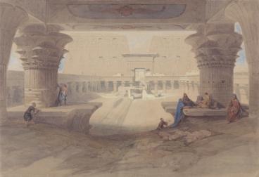 El templo de Edfu por David Roberts, arquitectura antiguo Egipto, Bajo las arenas de Kemet