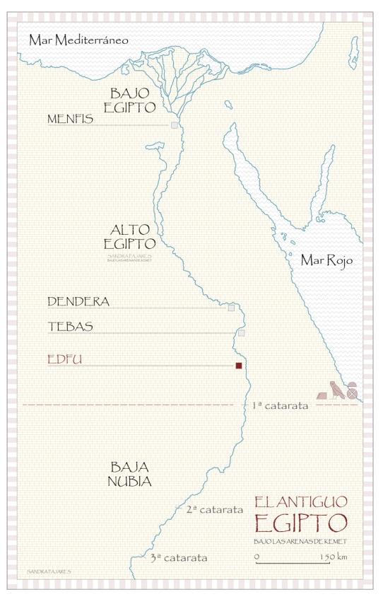 Mapa de Egipto, templo de Horus en Edfu, arquitectura antiguo Egipto, Bajo las arenas de Kemet