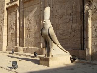 Estatua del Horus en el templo de Horus en Edfu, arquitectura antiguo Egipto, Bajo las arenas de Kemet