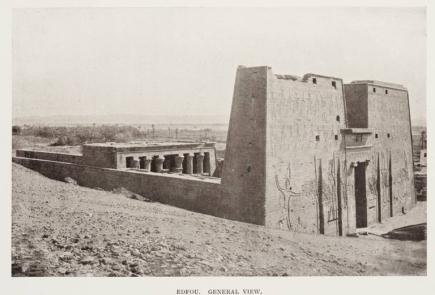 Fotografía del templo de Horus en Edfu, arquitectura antiguo Egipto, Bajo las arenas de Kemet