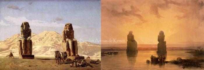 Los colosos de Memnón, por Jean-Léon Gérôme y David Roberts, templo funerario Amenhotep III, Tebas, Bajo las arenas de Kemet. Arquitectura antiguo Egipto