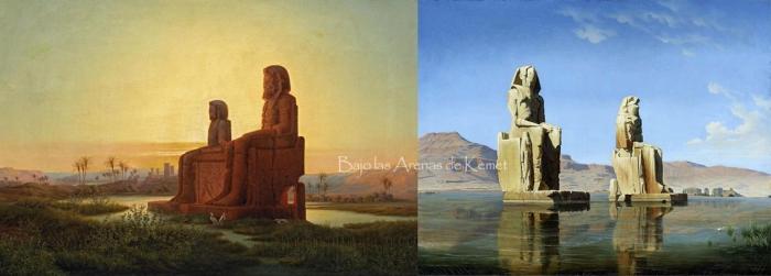 Los colosos de Memnón, por Eduard Hildebrandt y Hubert Sattler, templo funerario Amenhotep III, Tebas, Bajo las arenas de Kemet. Arquitectura antiguo Egipto