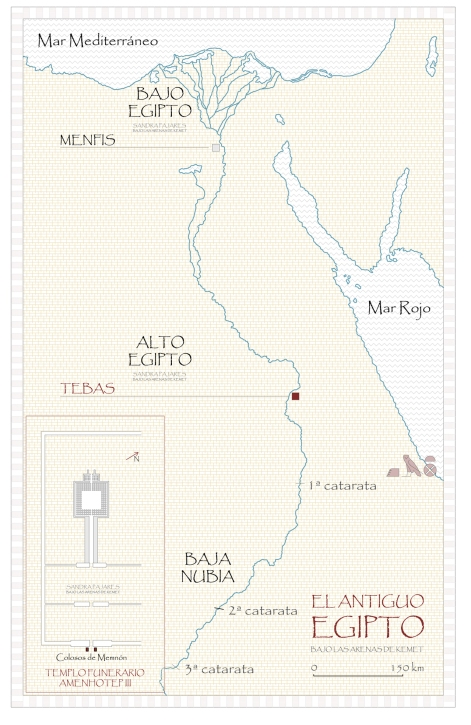 Mapa del antiguo Egipto, Sandra Pajares, templo funerario Amenhotep III, Tebas, Bajo las arenas de Kemet. Arquitectura antiguo Egipto