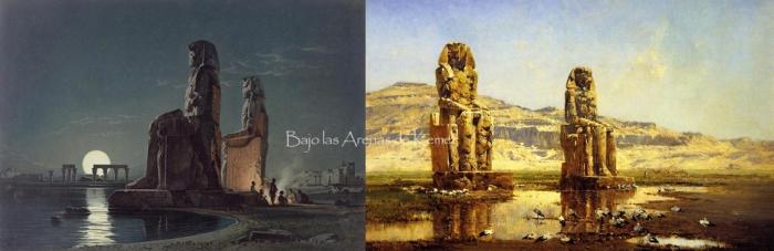 Los colosos de Memnón, por Carl Friedrich Heinrich Werner y Victor Huguet, templo funerario Amenhotep III, Tebas, Bajo las arenas de Kemet. Arquitectura antiguo Egipto