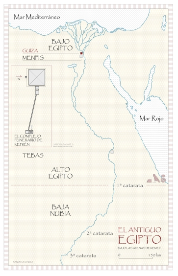 Mapa del antiguo Egipto. La meseta de Guiza con las pirámides de Keops [Khufu], Kefrén [Khaefra] y Micerinos [Menkaura]. Bajo las arenas de Kemet. Arquitectura antiguo Egipto