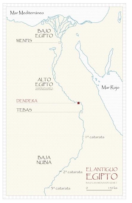 Mapa de Egipto, el templo de Hathor en Dendera, arquitectura antiguo Egipto, Bajo las arenas de Kemet