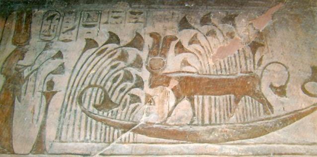 La diosa Hathor, navegando en una marisma de papiros, aparece ante Nefertari en Abu Simbel, arquitectura antiguo Egipto, Bajo las arenas de Kemet