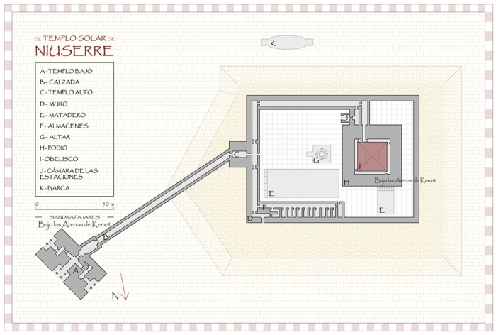 Planta del templo solar de Niuserre, Abu Gurob, Abusir, arquitectura antiguo Egipto, Bajo las arenas de Kemet